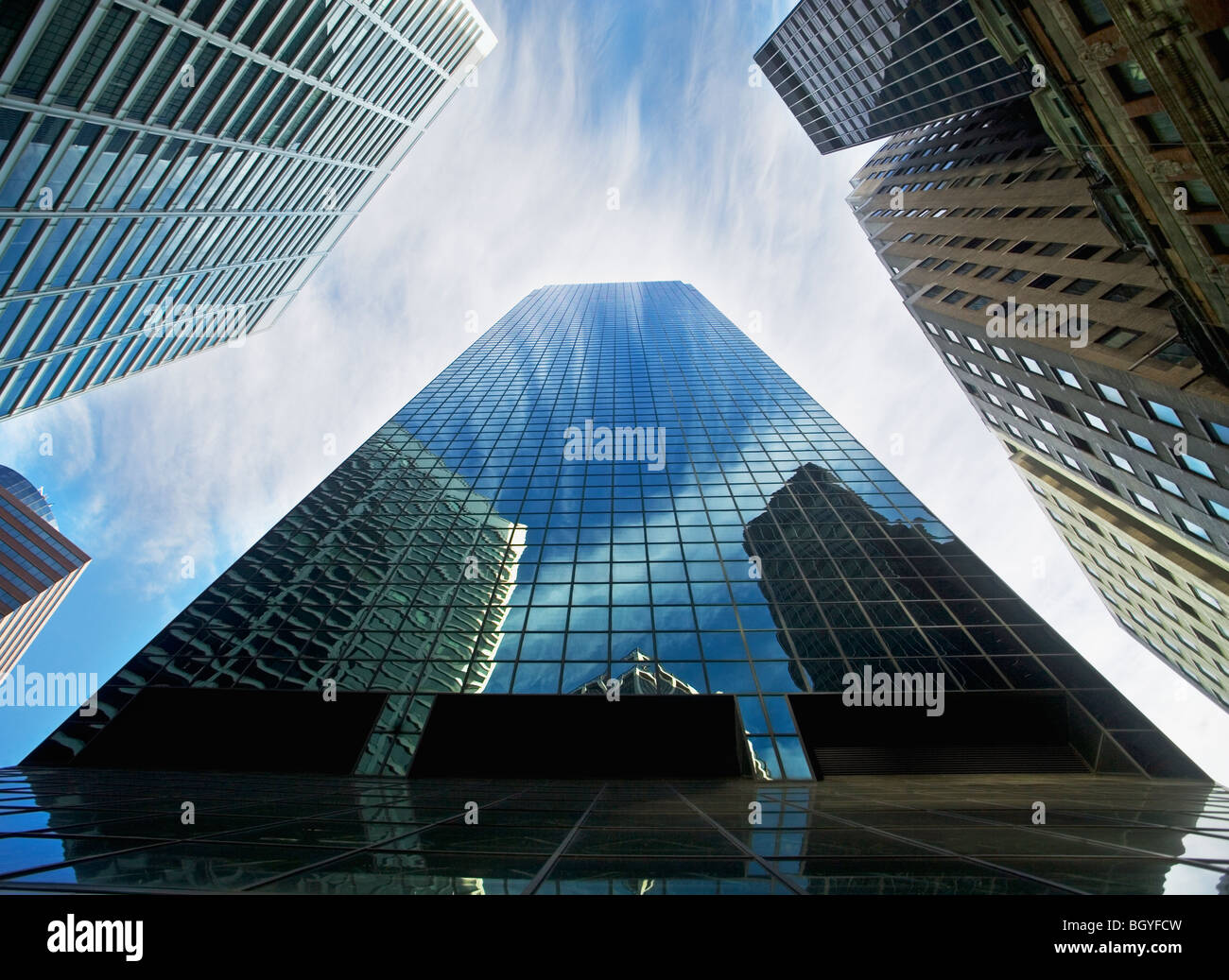 View from below skyscrapers - Stock Image