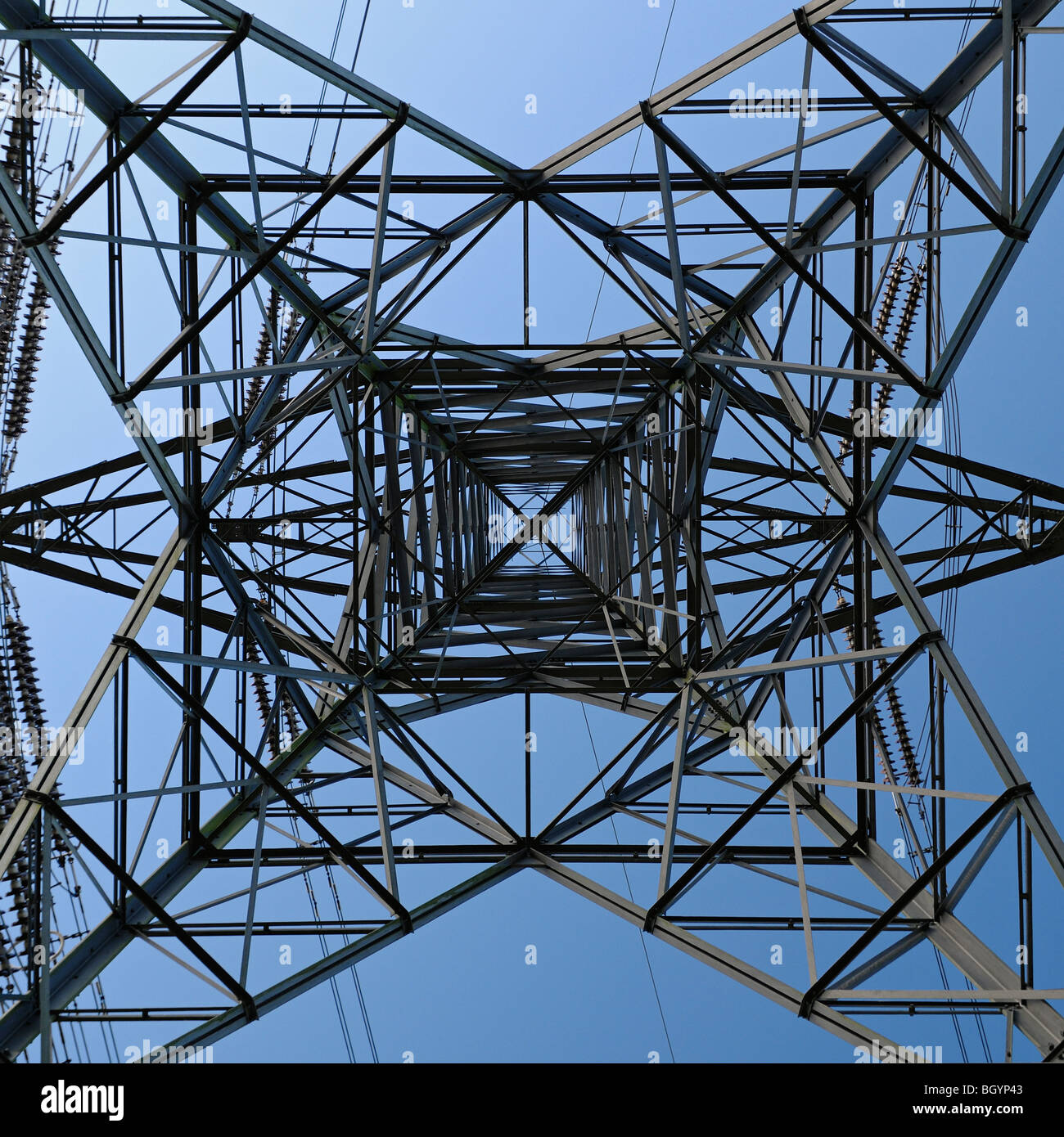 Electricity Pylon Low Angle View From Below - Stock Image
