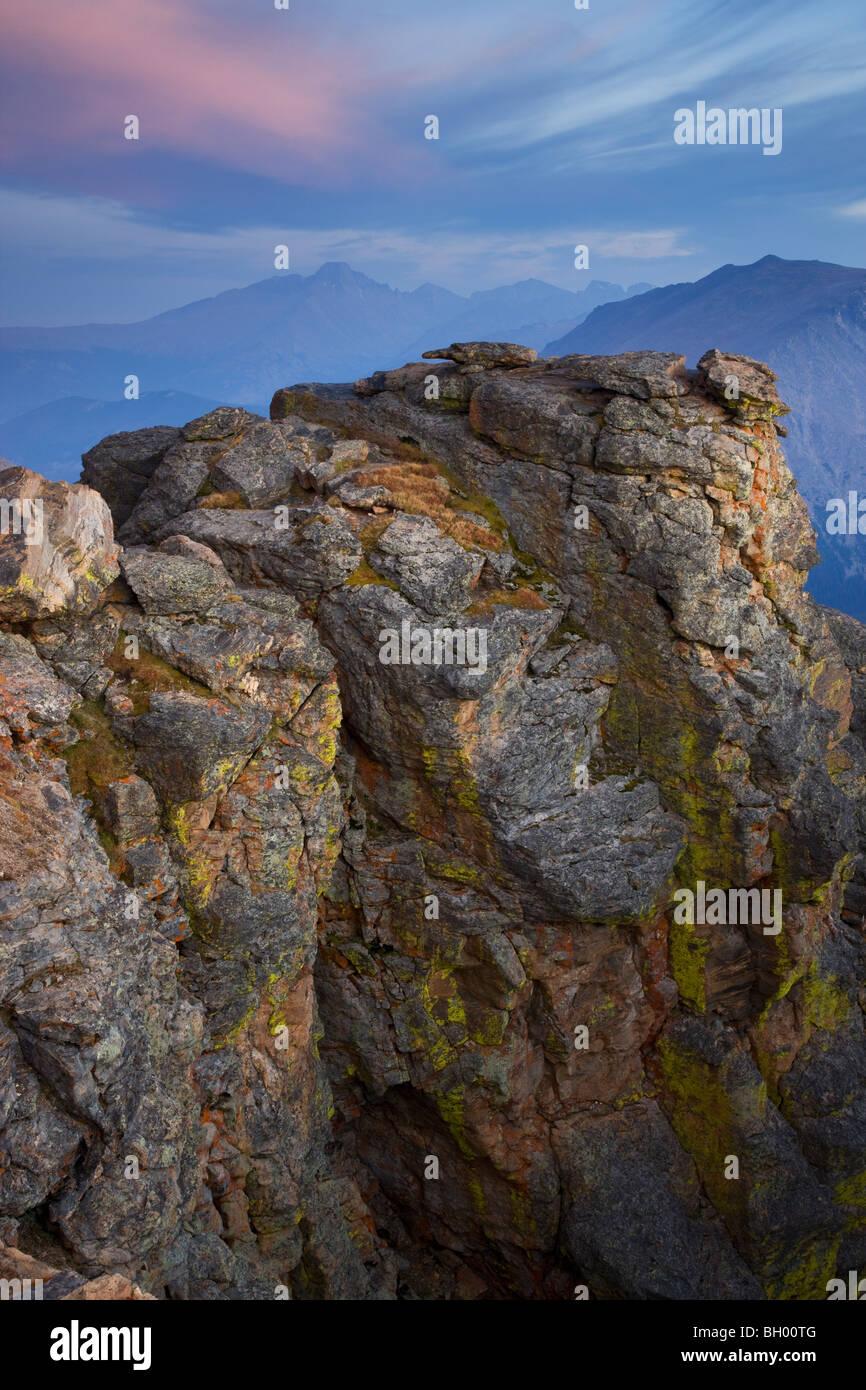 Rock Cut along Trail Ridge Road, Rocky Mountain National Park, Colorado. - Stock Image