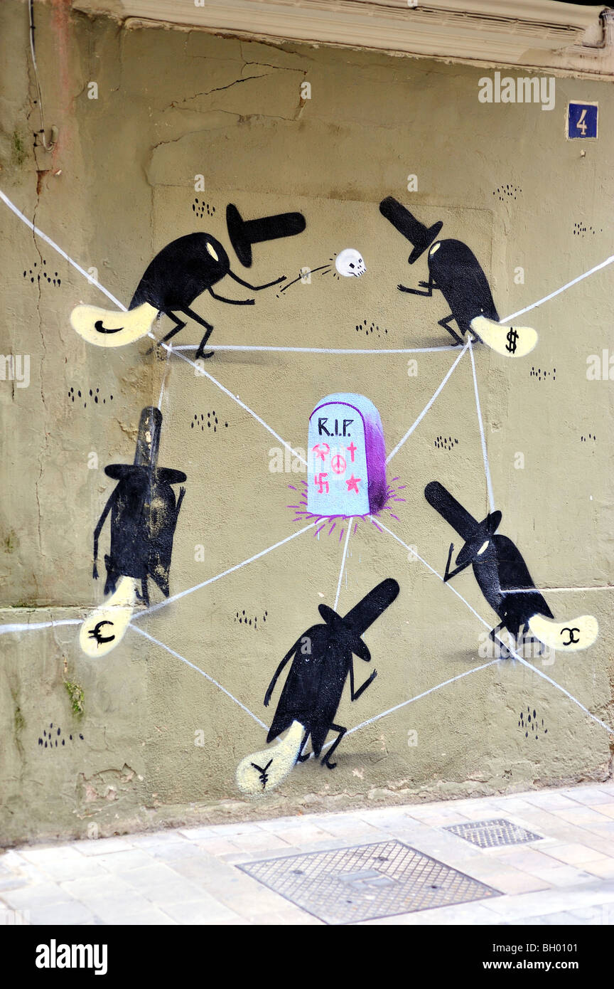 street art painted on a wall. protest - Stock Image