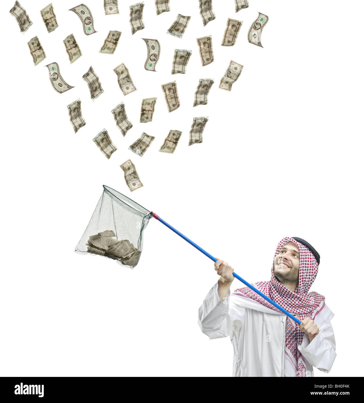 arab person collecting money with a butterfly net isolated on white