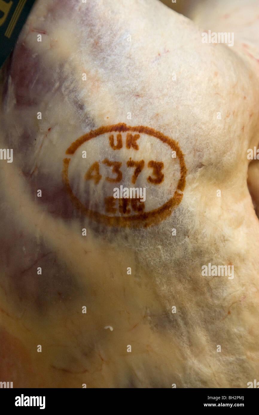 Uk EEC Meat Stamp - Stock Image