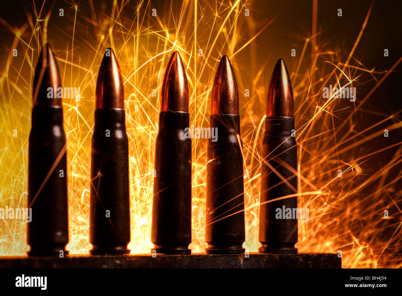 AK-47 assault rifle cartridges - Stock Image
