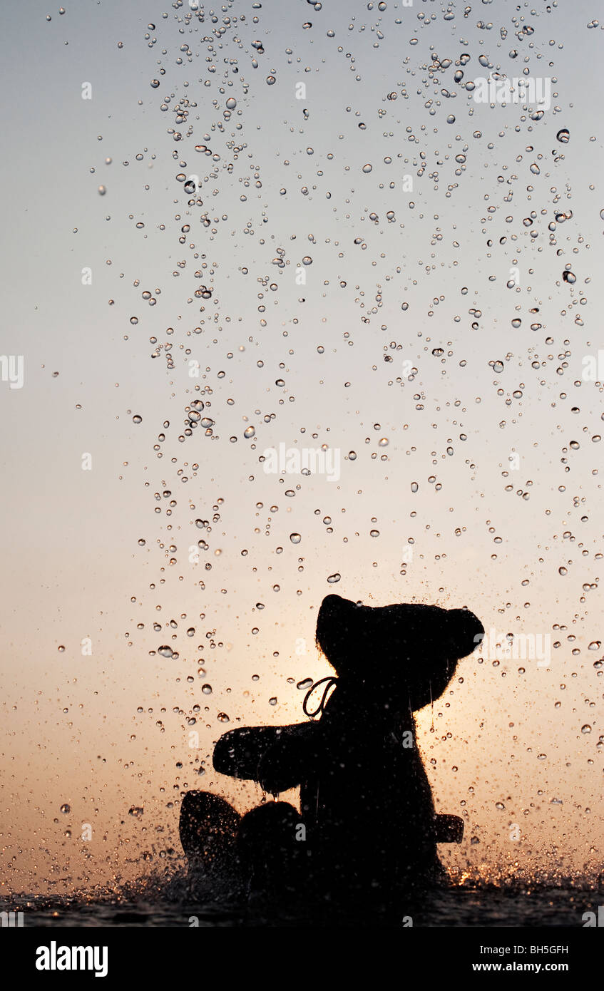 Teddy bear catching water drops silhouette - Stock Image