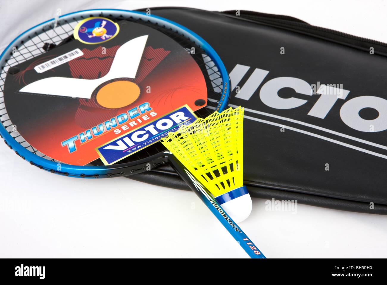 Badminton racket and shuttlecock brand new - Stock Image