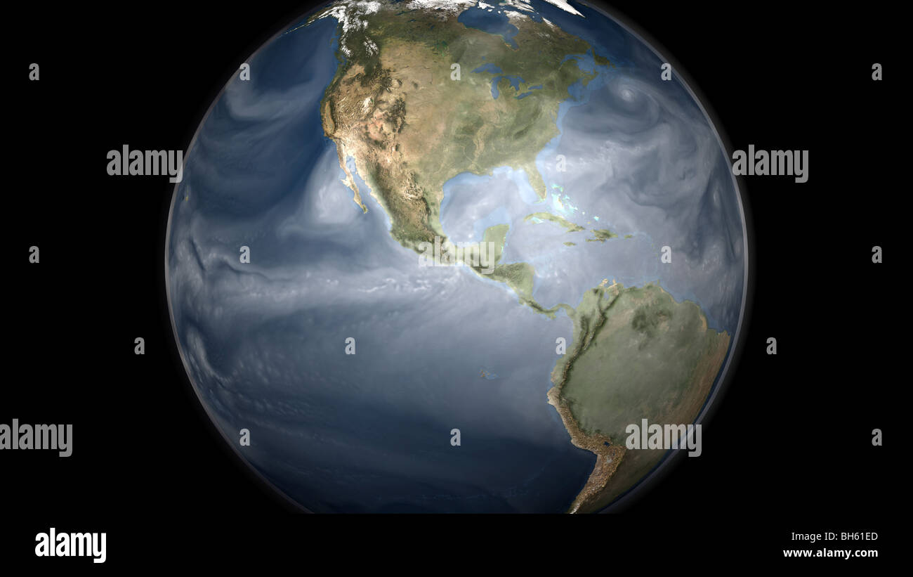 Full Earth view showing water vapor over the Americas. - Stock Image