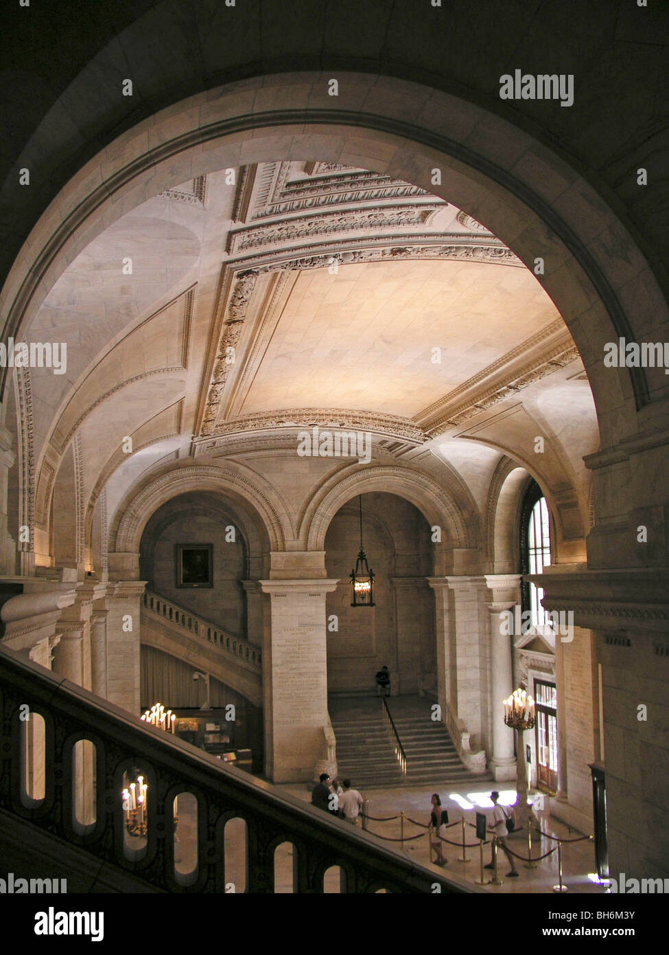 New York Public Library interior largest marble building in us in 1911landmark 5th avenue staircase midtown Manhattan Stock Photo