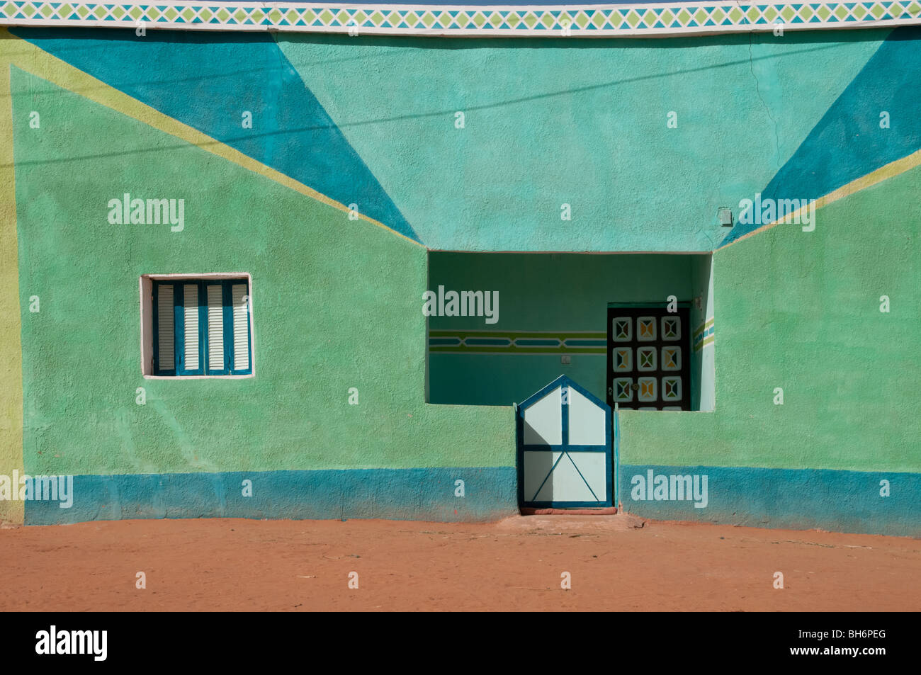 A colorful house in the desert village of Balat in Egypt's Dakhla Oasis. Stock Photo