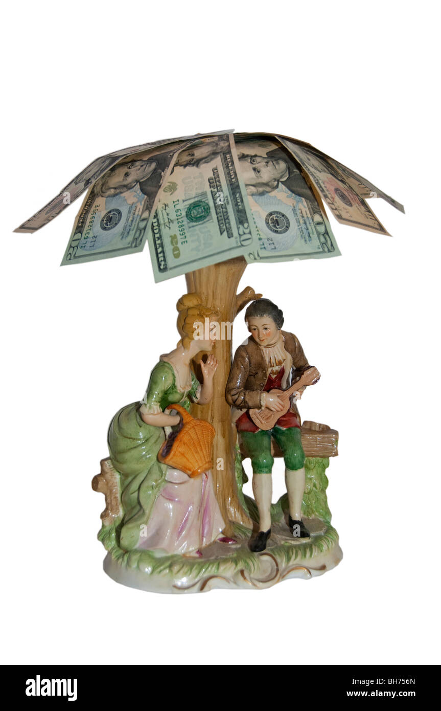 Financial concept happy retirement wealthy dollars American old age - Stock Image