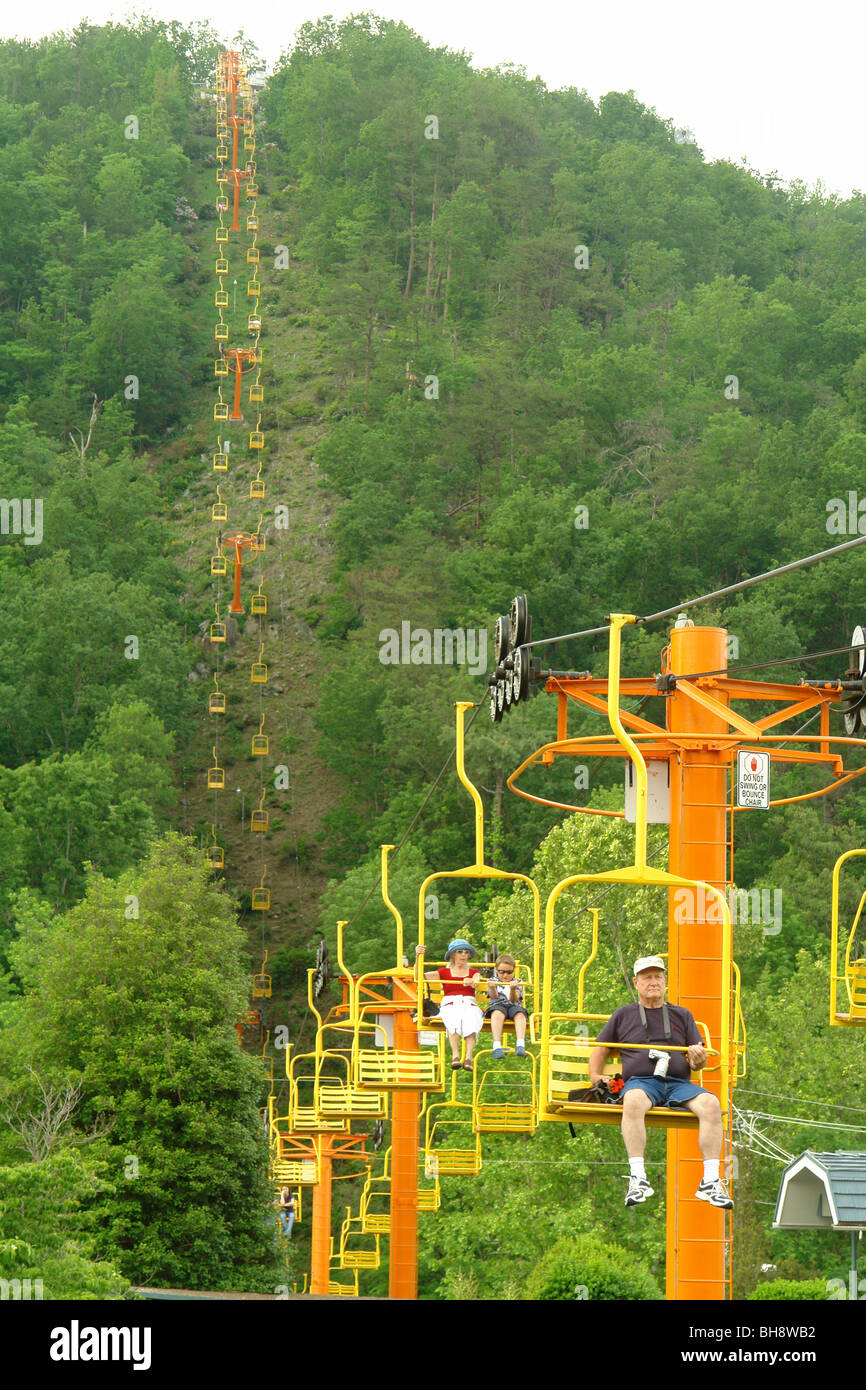 Amazing AJD63838, Gatlinburg, TN, Tennessee, Sky Lift, Chairlift, Cable   Stock