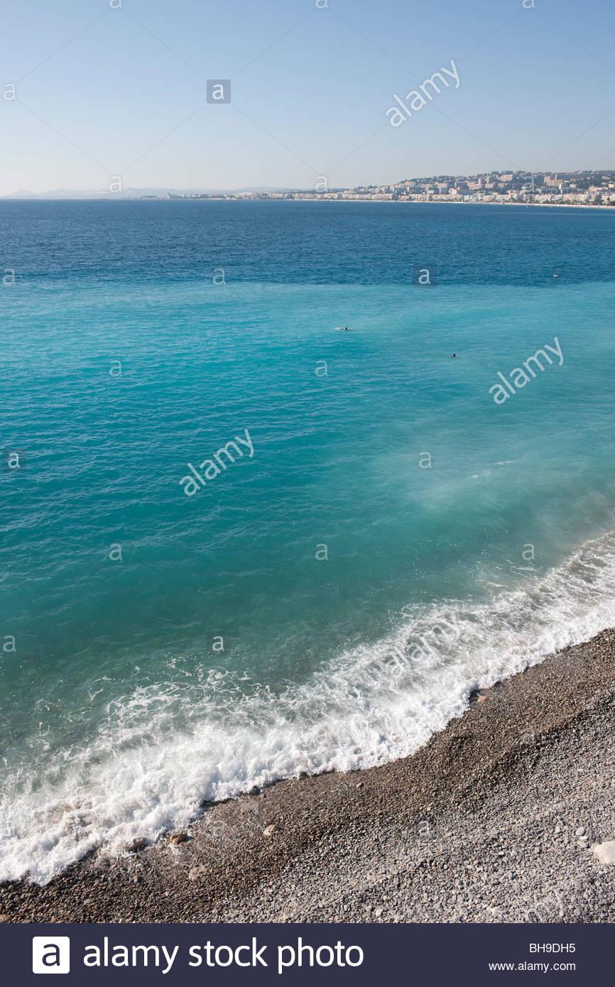 Baie des Anges, Promenade sea Anglais, Nice, sea, beach, Mediterranean, sun, blue sky - Stock Image