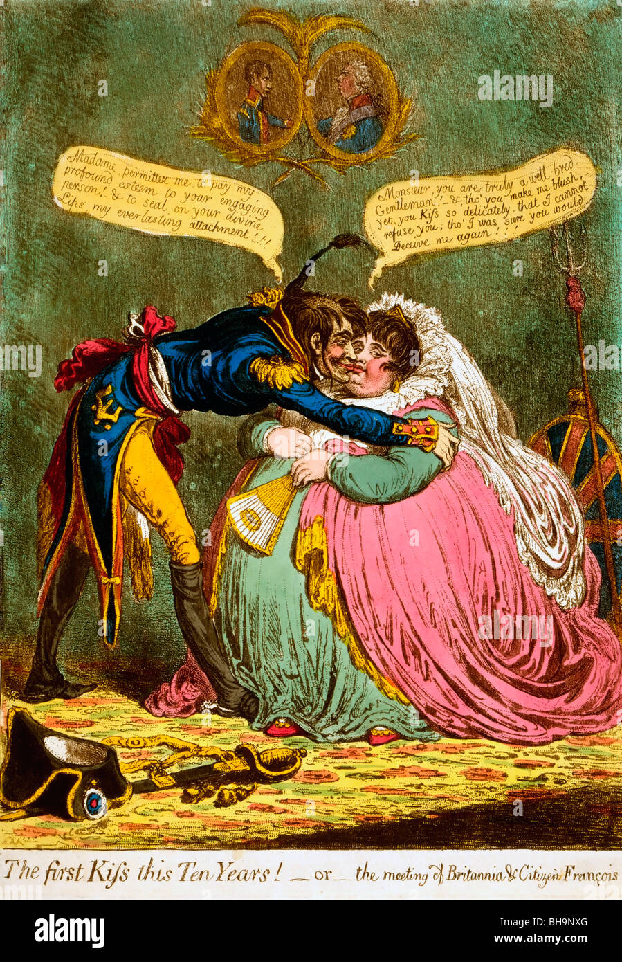 The first Kiss this Ten Years! - or - the meeting of Britannia & Citizen Francois, Political Cartoon, 1803 Stock Photo