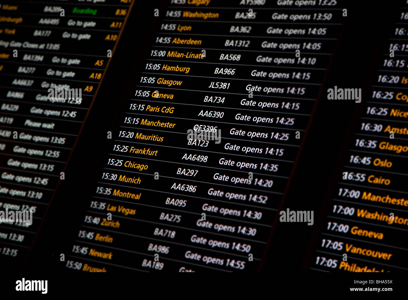 Departure sign for destinations from terminal 5, Heathrow airport, London, England - Stock Image