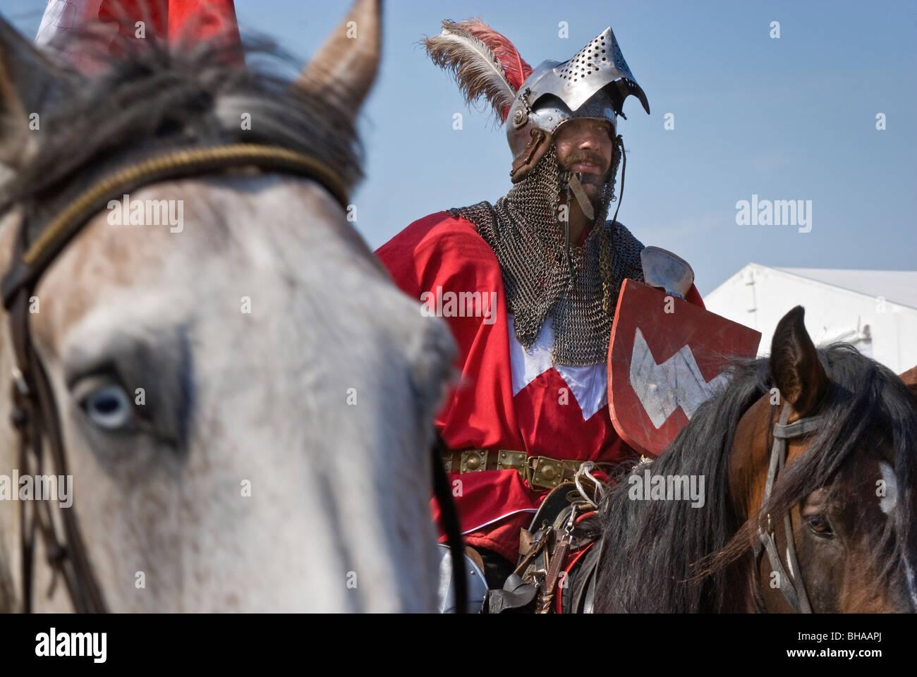 Sword-bearer of Polish Crown leaving battleground after Battle of Grunwald of 1410 in Warminsko-Mazurskie province, - Stock Image