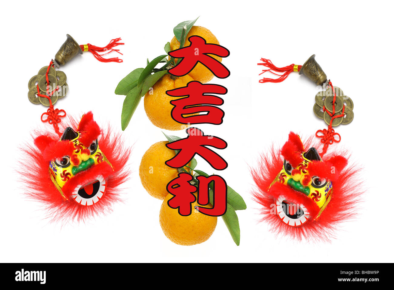Chinese Lunar New Year Greetings With Lion Head Ornaments And