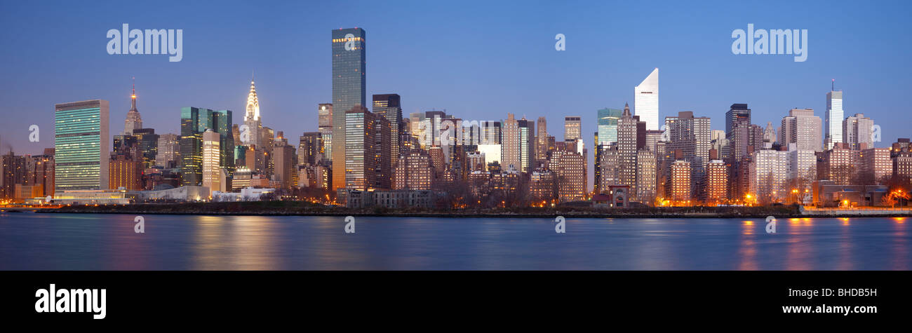 Midtown New York viewed from Long Island - Stock Image