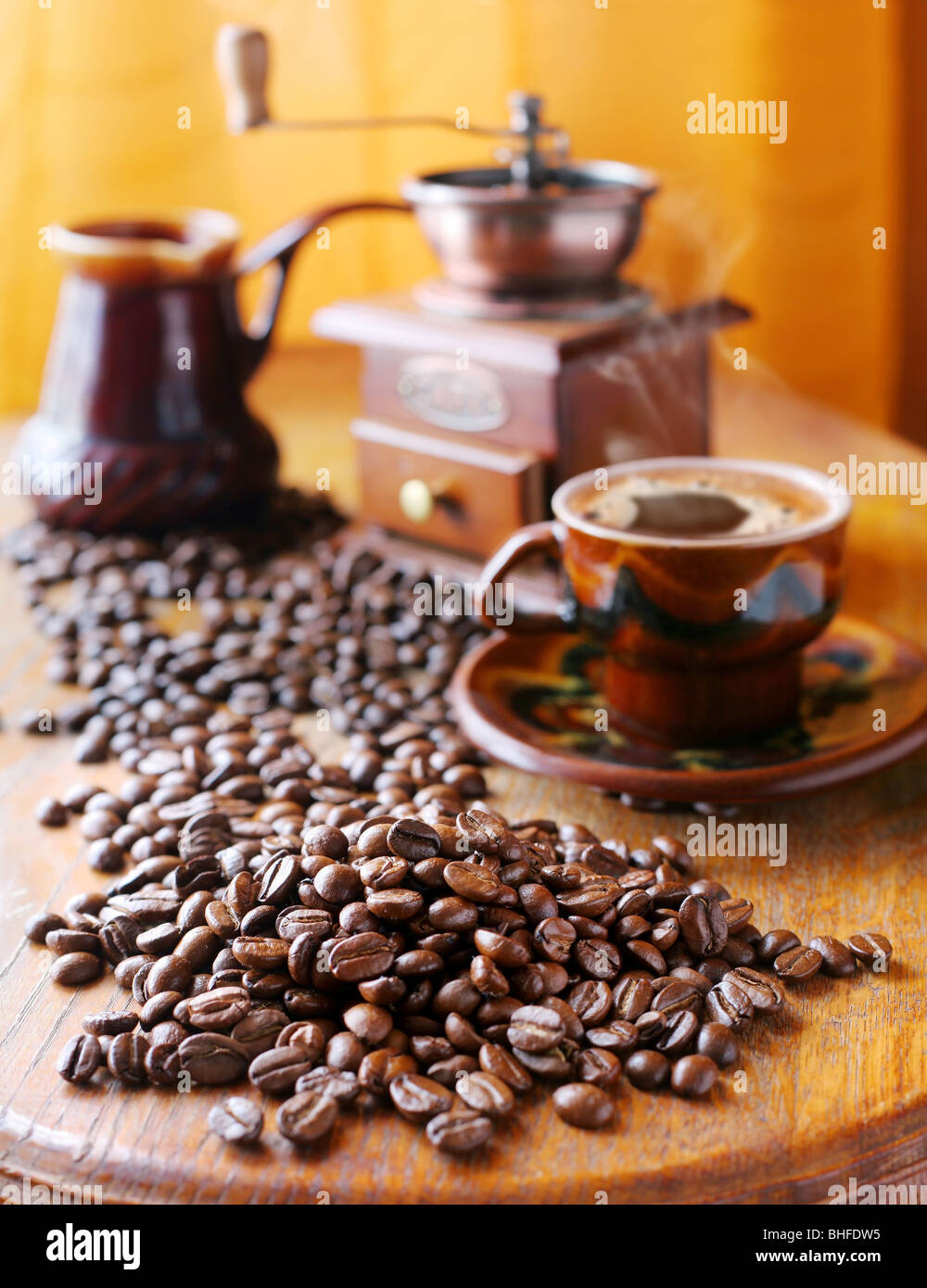 Still life with coffee beans, and accessories - Stock Image