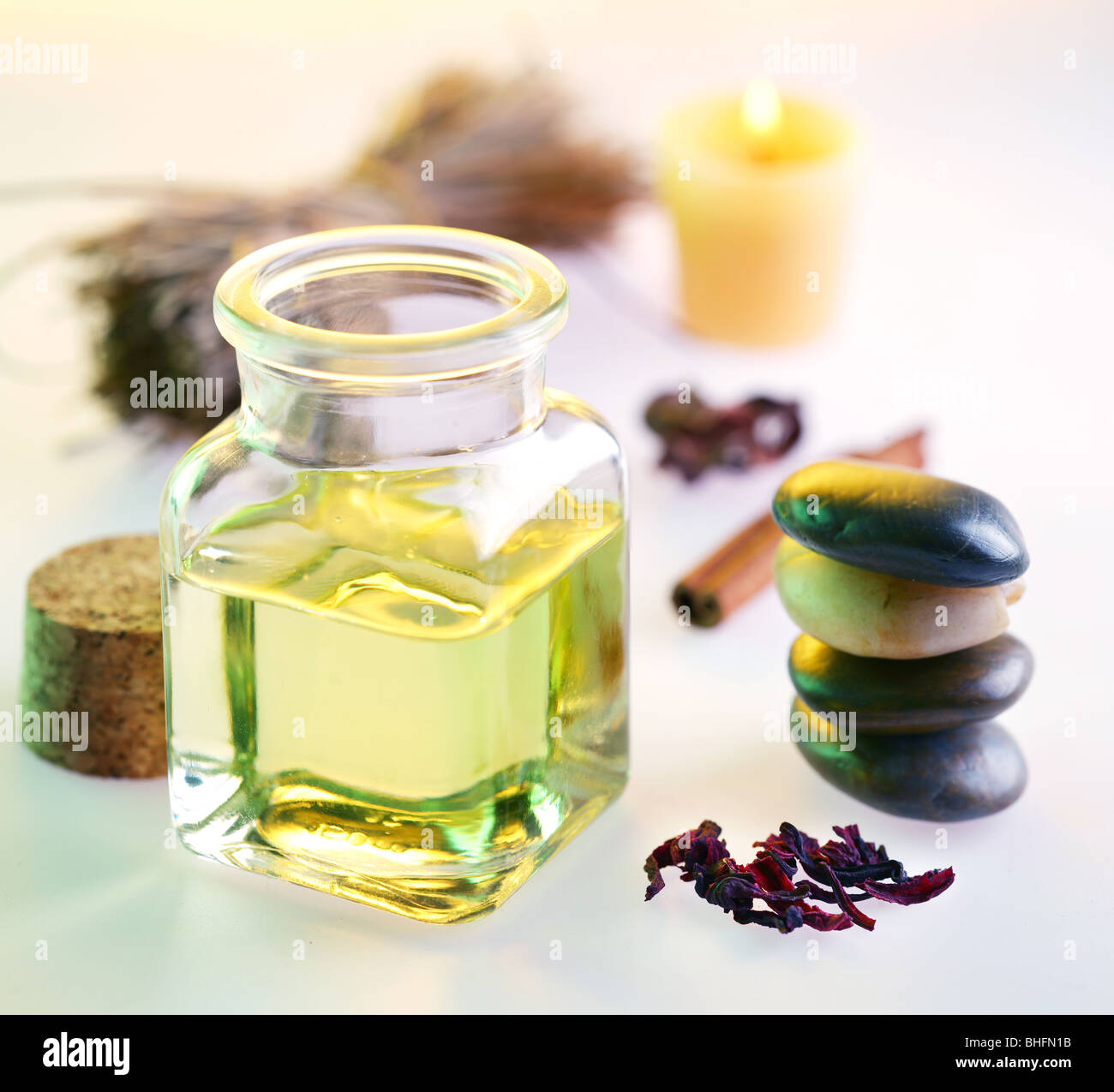 Still life with massage oil in the spa salon - Stock Image