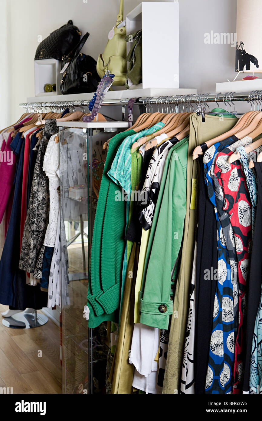 Clothing rail in store - Stock Image