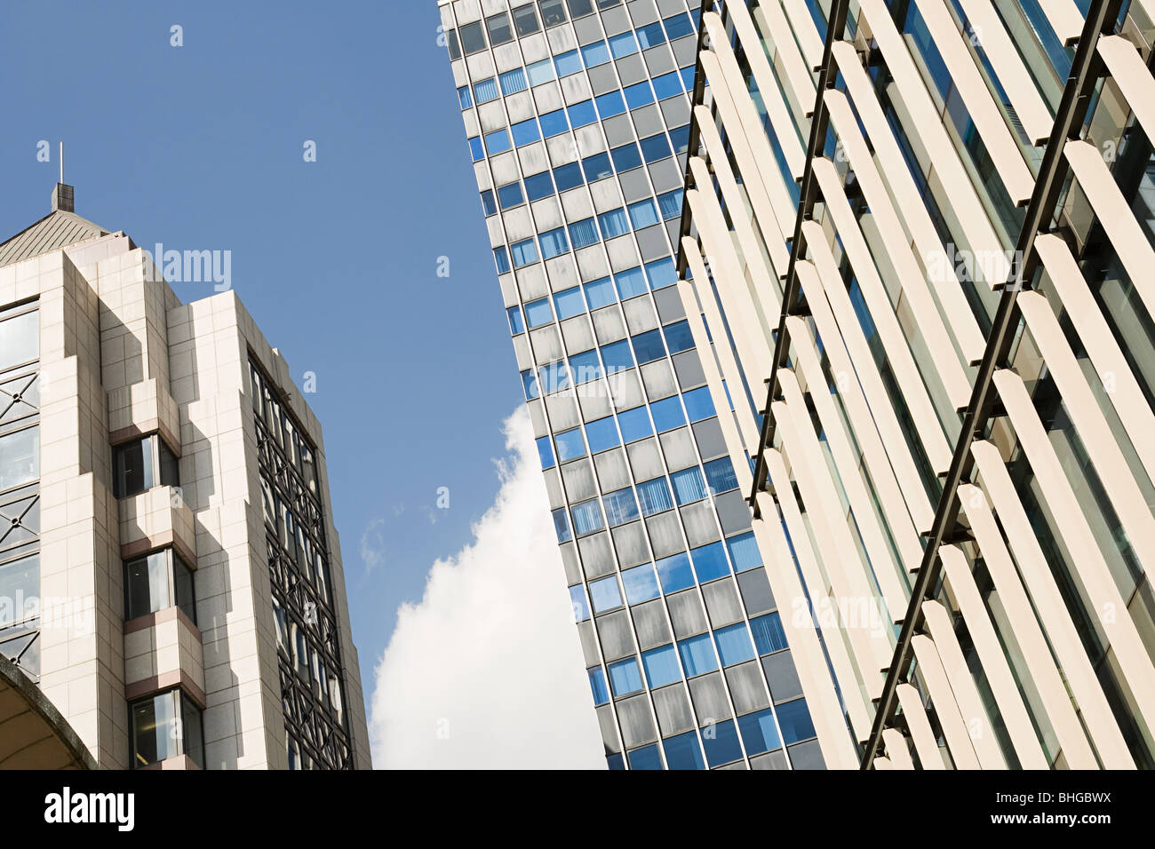 Low angle view of office buildings - Stock Image