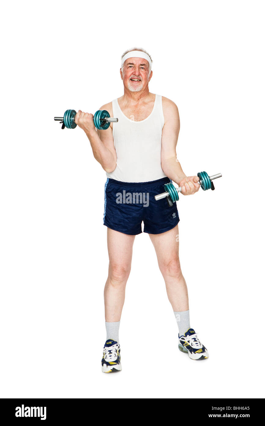 Senior man strength training. - Stock Image