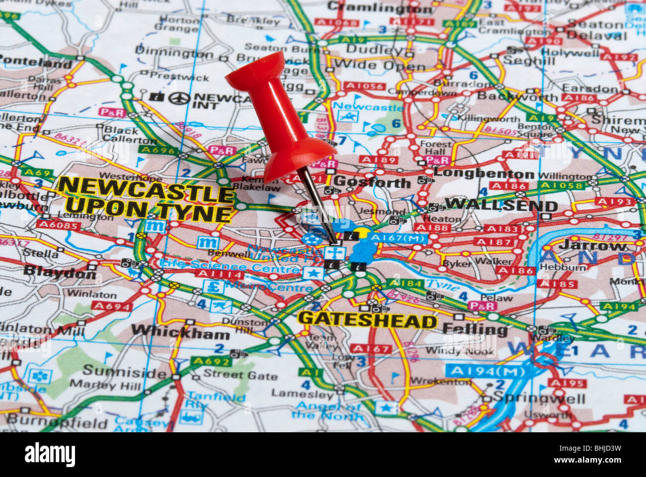 red map pin in road map pointing to city of Newcastle upon Tyne