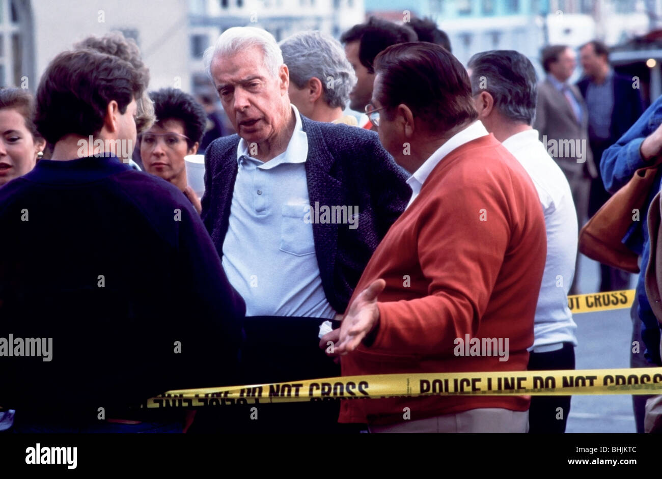 Baseball legend Joe DiMaggio at a Red Cross center in the Marina District after the 1989 San Francisco Earthquake Stock Photo