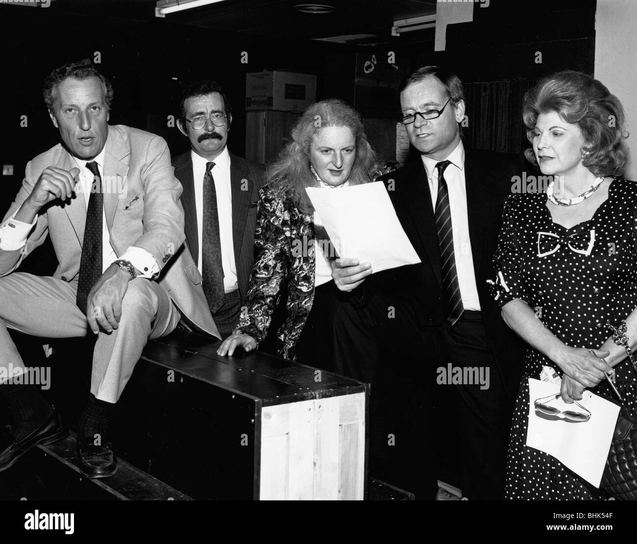 Frederick Forsyth, Robert Winston, Rabbi Julia Neuberger, Jeffrey Archer, and Sally Oppenheim. Artist: Sidney HarrisStock Photo