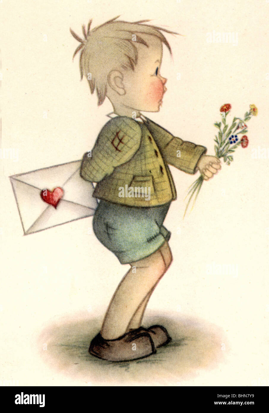 Kitsch souvenir greetings card boy with love letter and flowers kitsch souvenir greetings card boy with love letter and flowers drawing by f probst historic historical mothers day l m4hsunfo Images