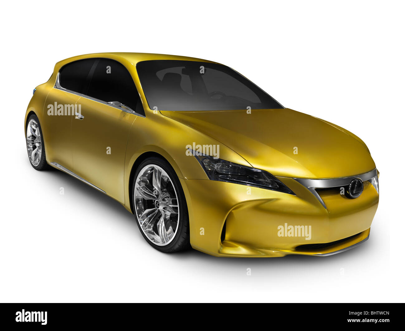 Gold shiny Lexus LF-Ch hybrid concept car. Isolated on white background with clipping path. - Stock Image