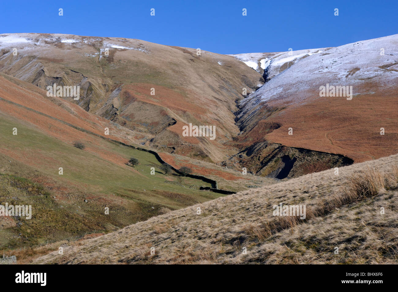 Hare Shaw, Grains Gill and and Uldale Head from Gibbet Hill. The Howgill Fells, Cumbria, England, United Kingdom, Stock Photo