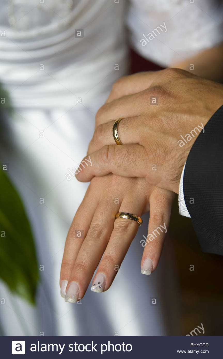 Wedding Rings On Each Other S Hands Stock Photo 28261981 Alamy