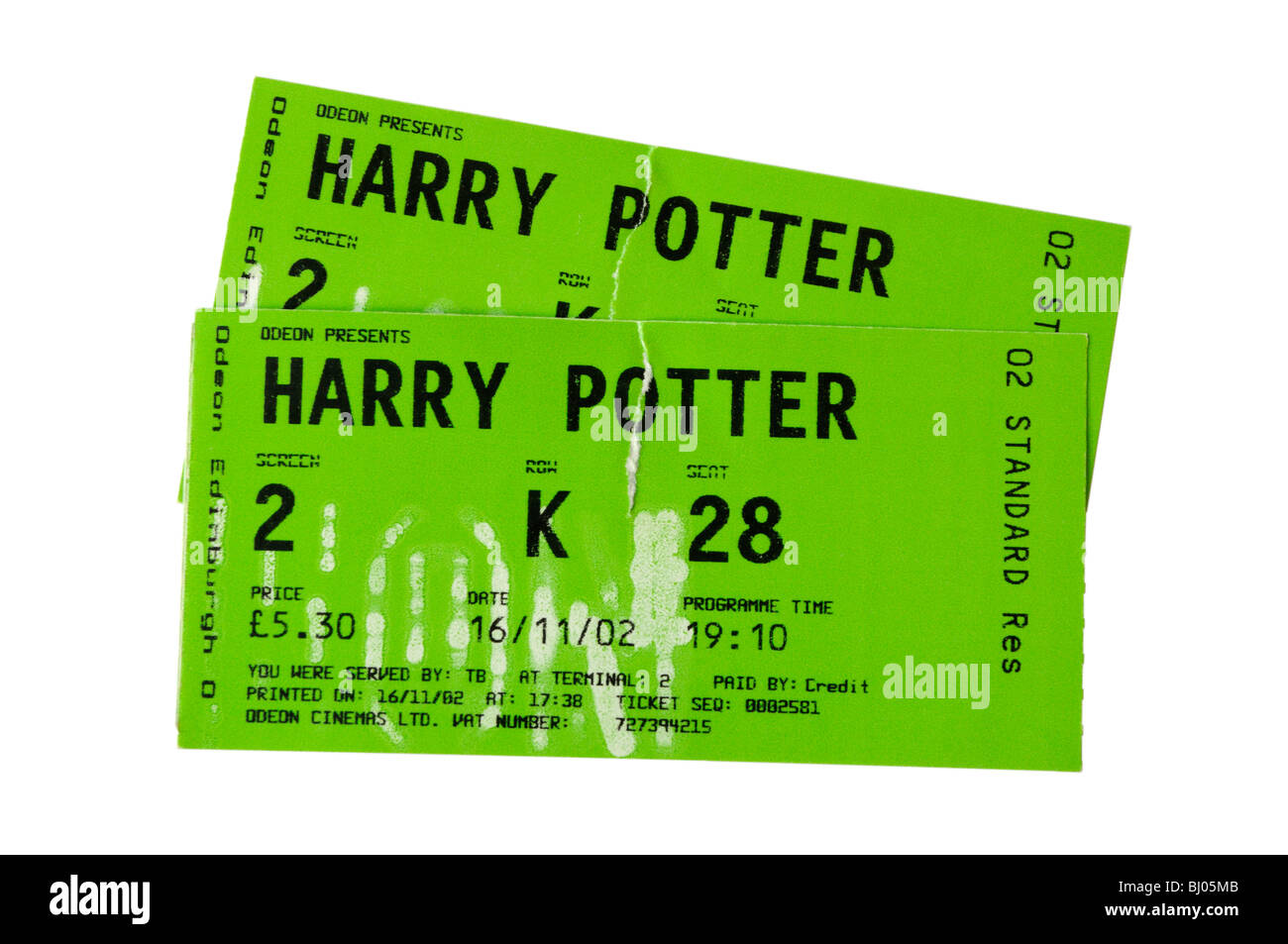 A pair of cinema tickets to see Harry Potter - Stock Image