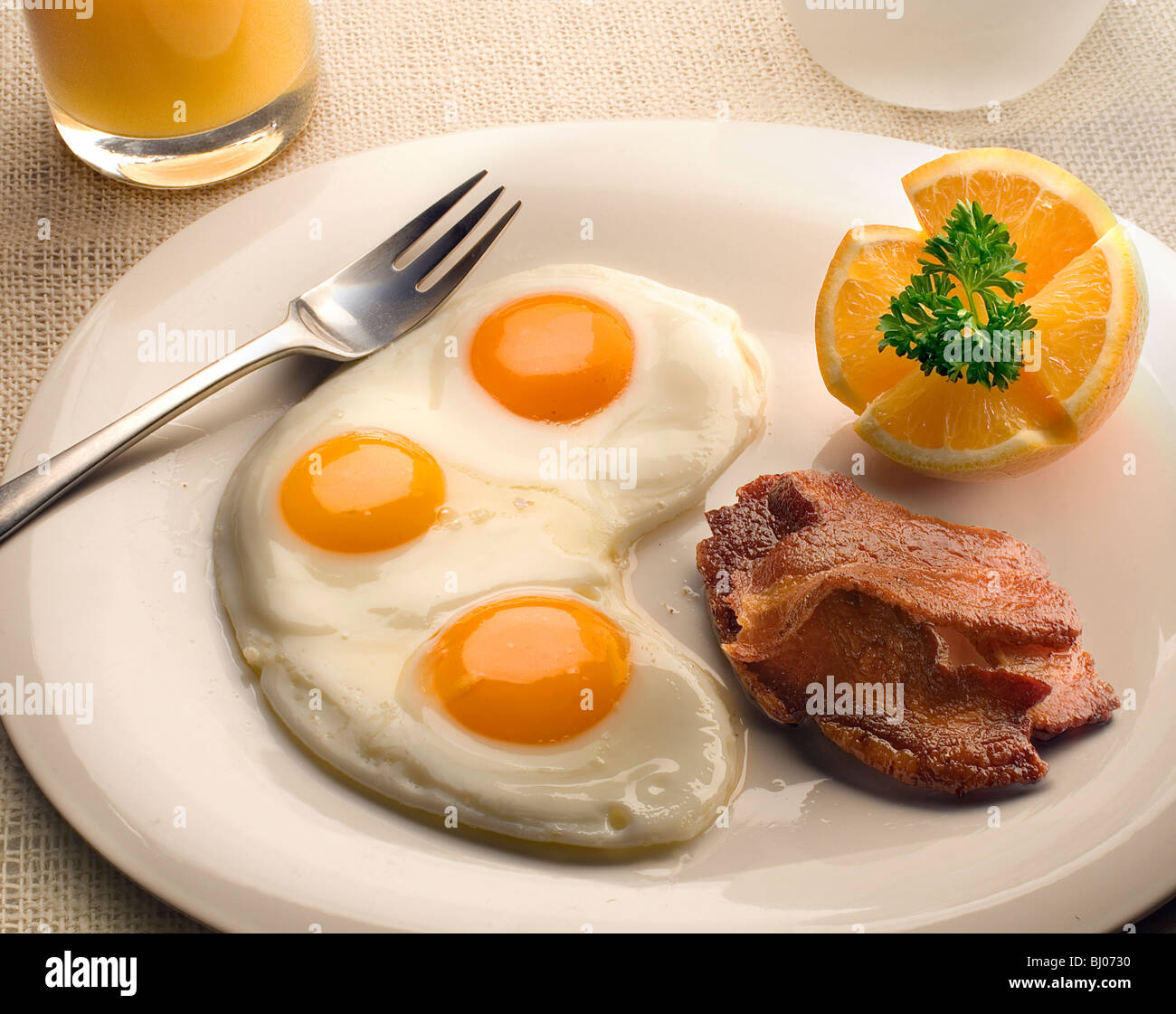 eggs with bacon - Stock Image