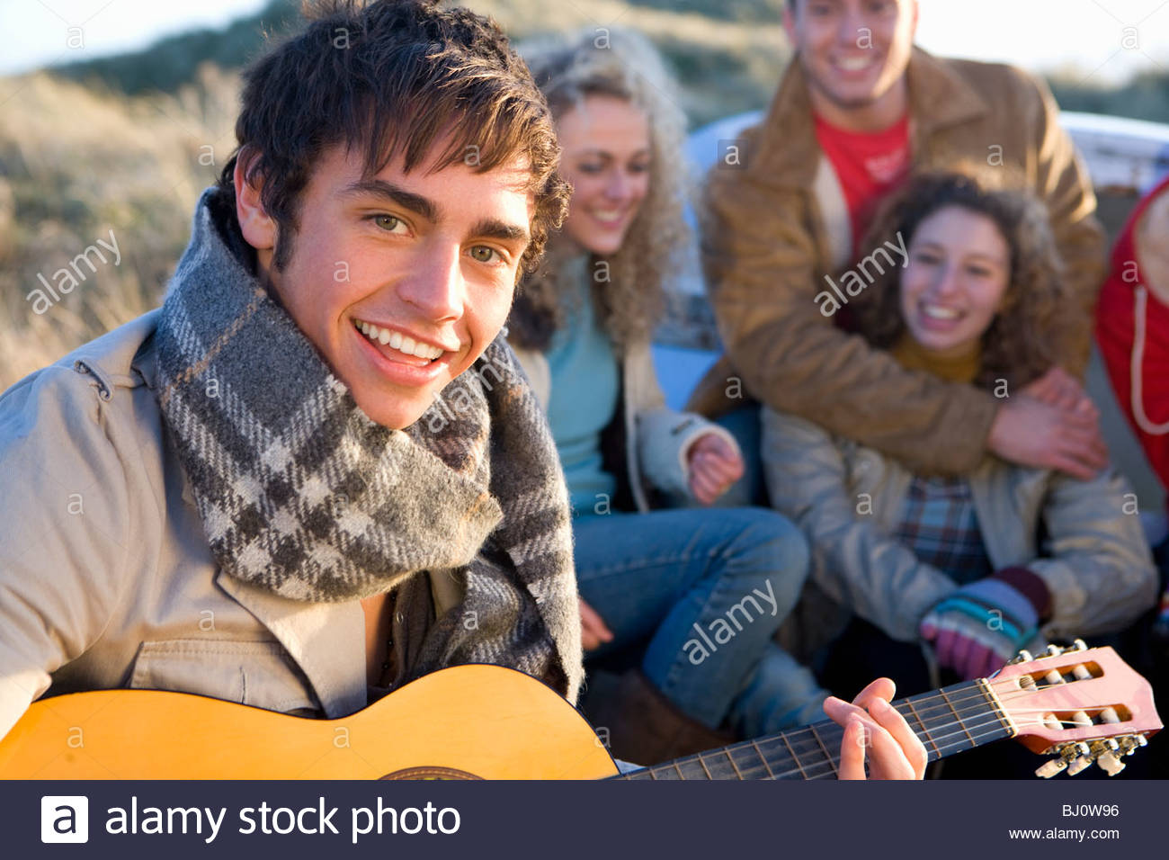 Friends singing and having fun - Stock Image