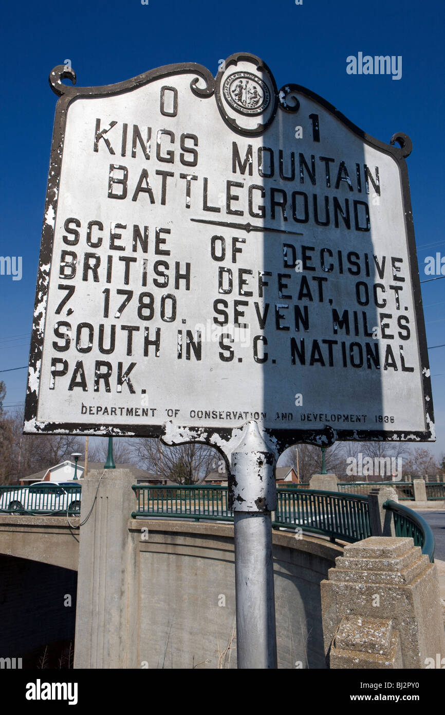 Kings Mountain Battleground  Scene of decisive British defeat, Oct. 7 1780. Seven miles south in S.C. National Park. - Stock Image