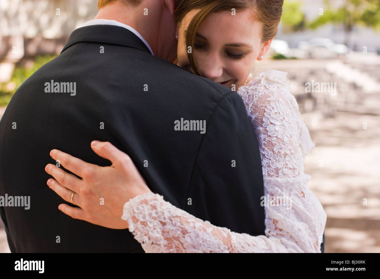 bride and groom before wedding - Stock Image
