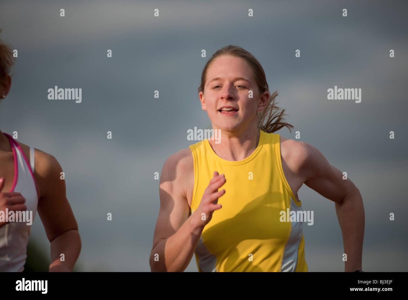 female athlete competing - Stock Image