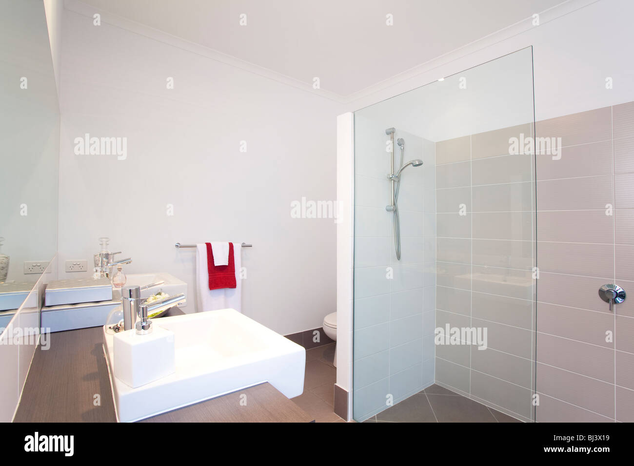 bathroom in modern townhouse - Stock Image