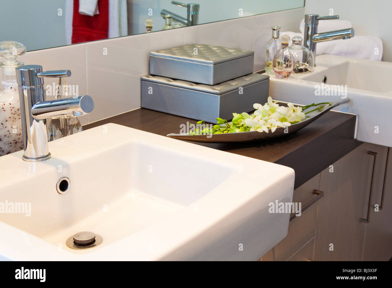 bathroom detail in modern townhouse - Stock Image