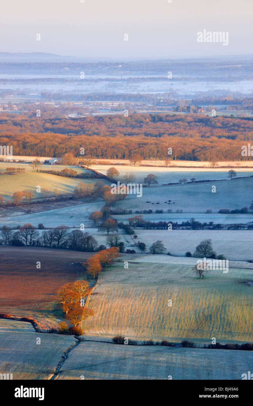 View from Devils Dyke looking northward over the Sussex landscape - Stock Image