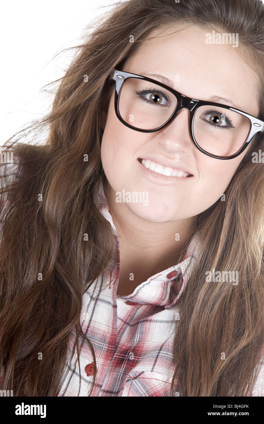 Shot of a Cute Teenager Geek against White Background - Stock Image