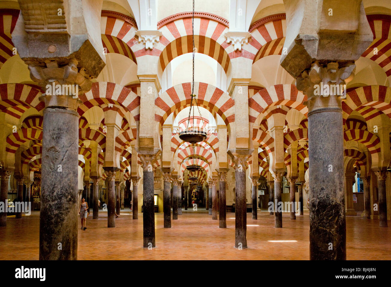 interior of mosque cathedral cordoba andalusia spain stock photo