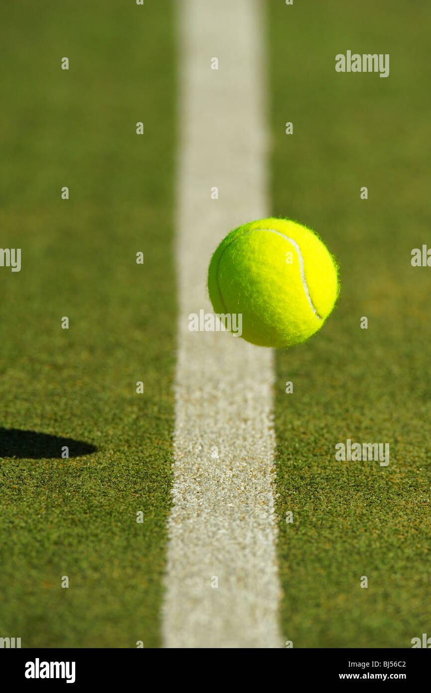 Tennis Ball Bouncing Near To Tram Line Stock Photo 28388978 Alamy