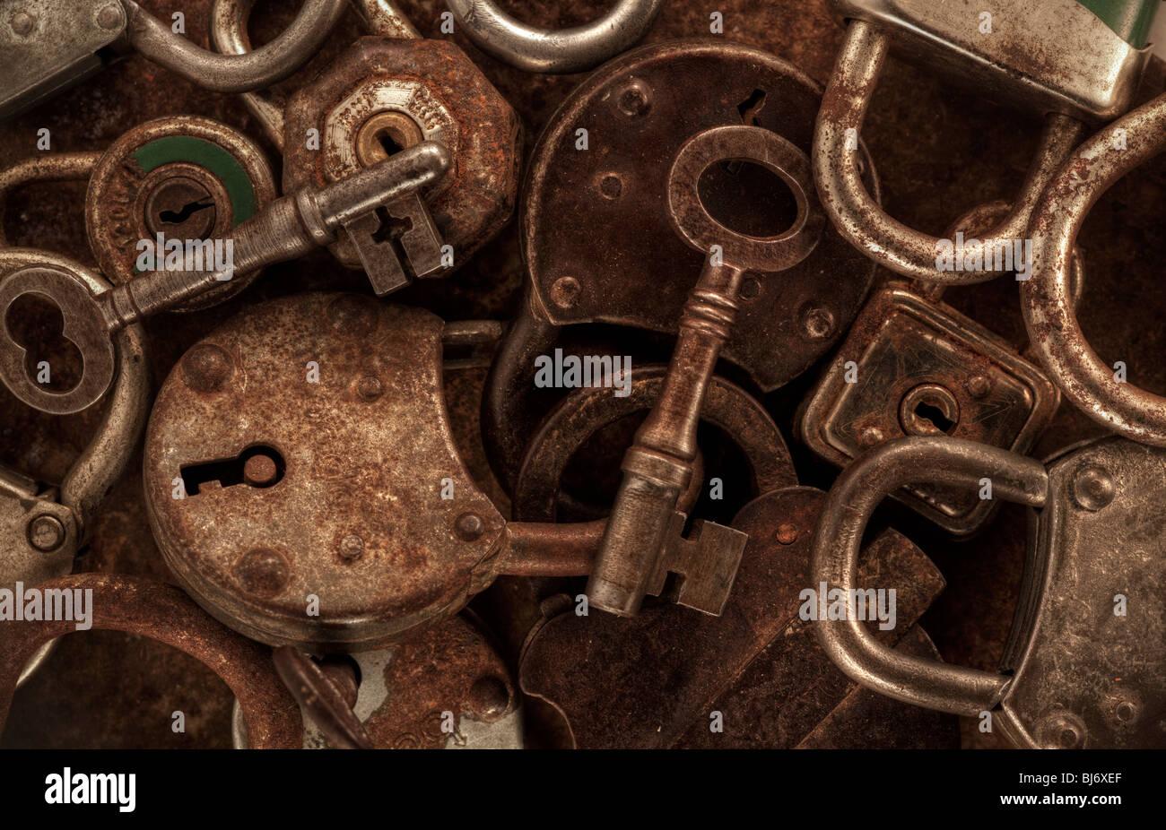 Keys and padlocks still life Stock Photo