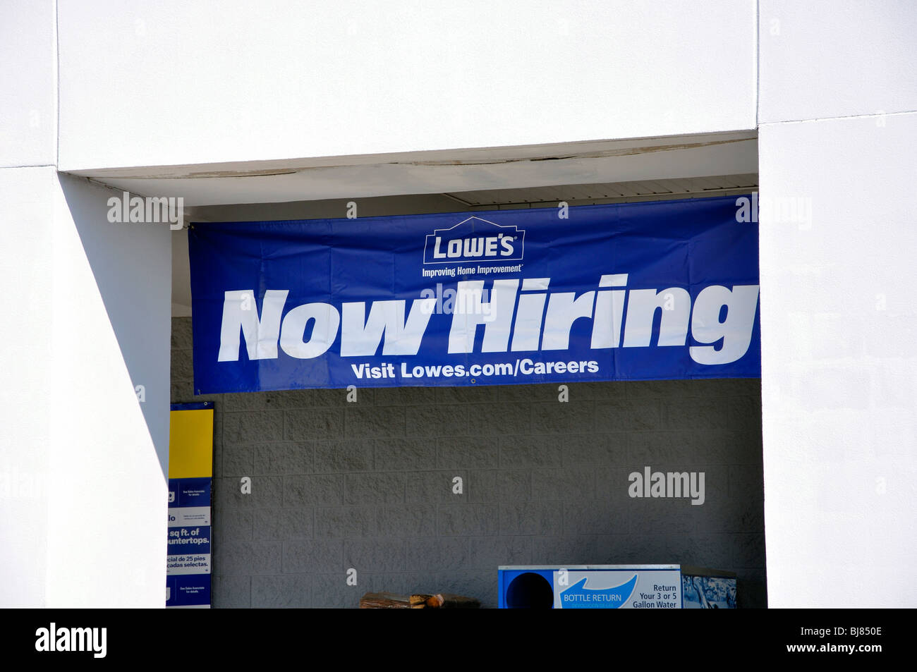 Lowe S Home Improvement now hiring sign on lowes home improvement store usa stock photo