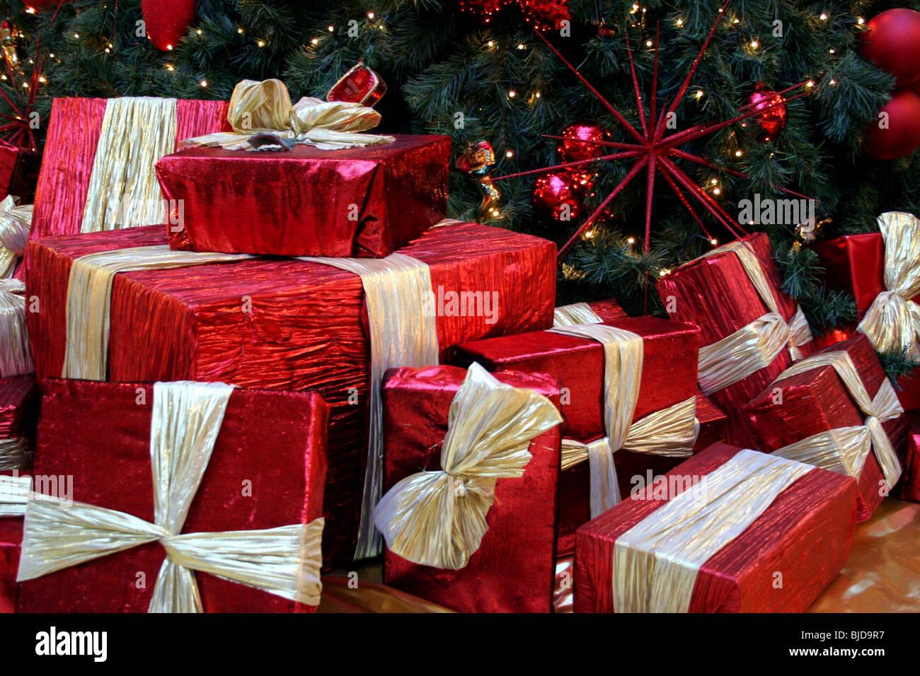 Christmas presents under Christmas Tree Stock Photo