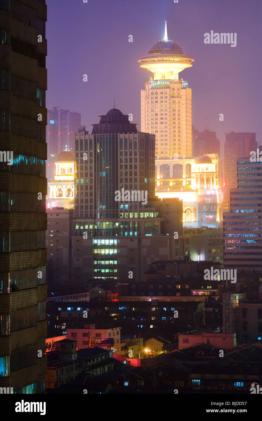 Overview of downtown Shanghai, China, Asia - Stock Image