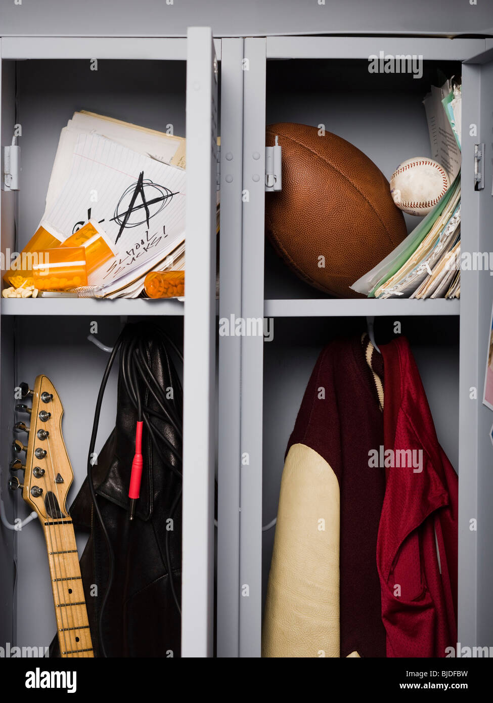 Contents of high school lockers. - Stock Image
