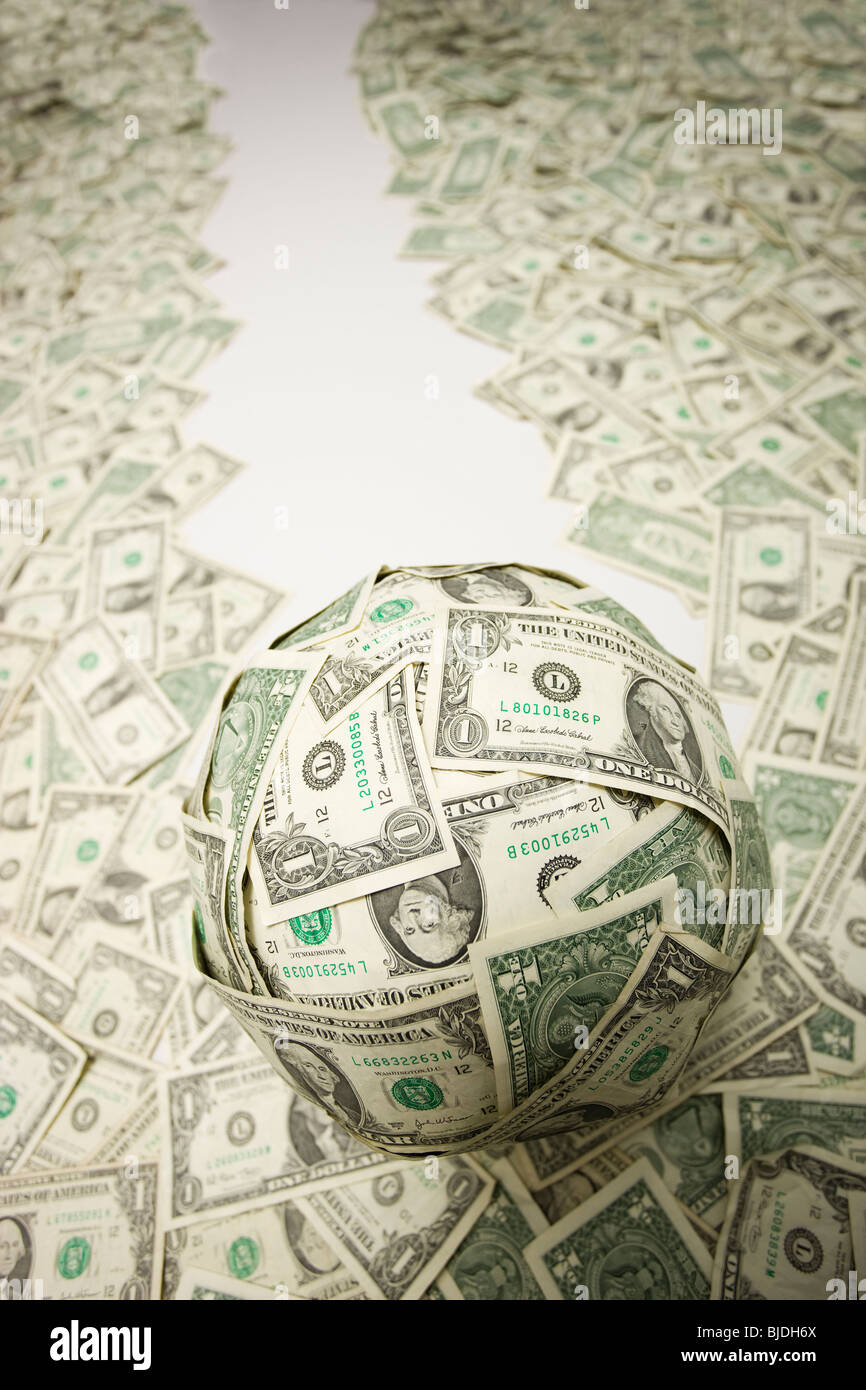 ball of money - Stock Image